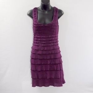 Max Studio Purple Tiered Dress Size S